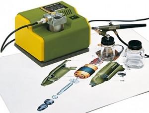 Малогабаритный компрессор Proxxon МК 240 и аэрограф АВ 100